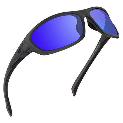 KastKing Hiwassee Polarized Sport Sunglasses for Men and Women, Matte Smoke Crystal Frame,Smoke Base Cobalt Mirror