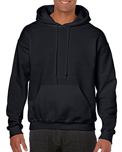 Gildan Men's Heavy Blend Fleece Hooded Sweatshirt G18500, Black, Medium