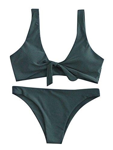 SweatyRocks Women's Sexy Bikini Swimsuit Tie Knot Front Swimwear Set Green L