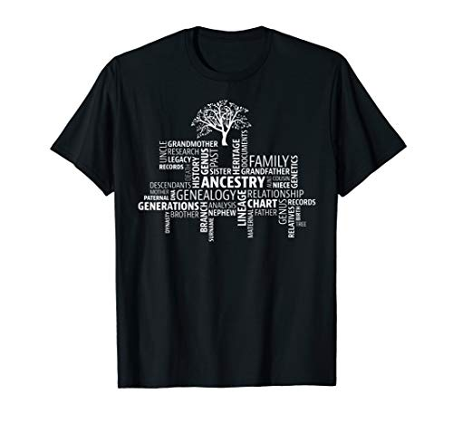 Genealogy, Ancestry, Word Cloud T-shirt Research your family