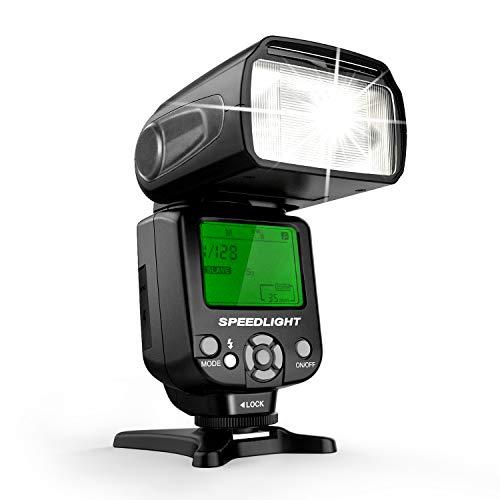 Geekoto GT53 Camera Flash Speedlite, LCD Display and Multi for Canon Nikon Sony Panasonic Olympus Pentax DSLR, Digital Cameras with Standard Hot Shoe
