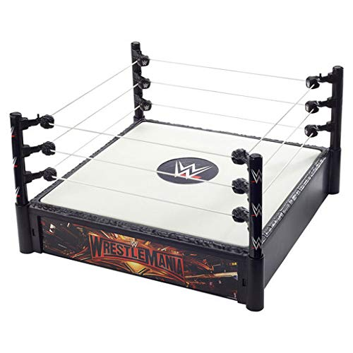 WWE Wrestlemania / SummerSlam Superstar Ring 14-inches Across with Ring Ropes, 2 Swappable Ring Skirts for 2-in-1 Ring Fun