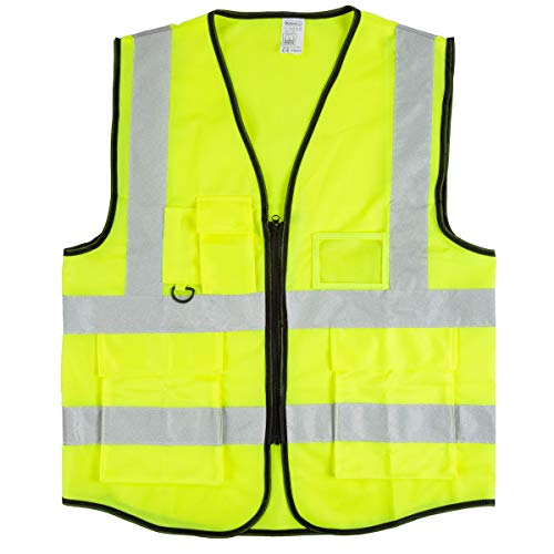 Stalwart High Visibility Reflective Vest – ANSI Standard Fluorescent Green Safety Workwear with 6 Pockets and Zippered Front (Large, X-Large)