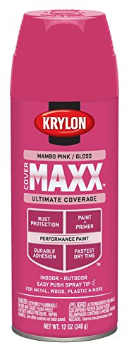 Krylon K09129000 COVERMAXX Spray Paint, Gloss Mambo Pink, 12 Ounce