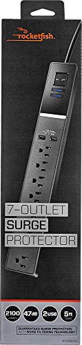 - 7-Outlet Surge Protector - Black