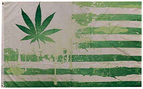 Trade Winds Green American Weed Marijuana Pot Leaf Premium Quality Heavy Duty Fade Resistant 100D Woven Poly Nylon 3x5 3'x5' Flag Banner
