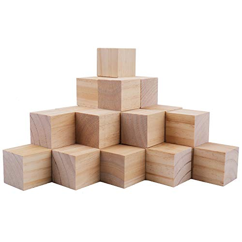 Tosnail 30 Pack 2 Inches Unfinished Wooden Cubes Wooden Blocks - Great for Crafts Making