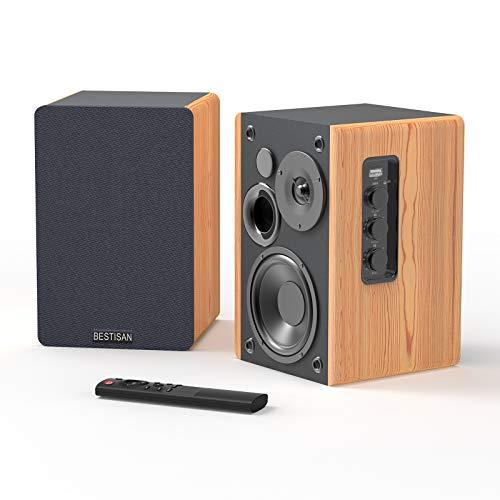 Bookshelf Speakers, BESTISAN Powered Bluetooth Bookshelf Speakers, Optical Input,Wireless Studio Monitors, 4 Inch Near Field Speaker - 50W RMS - Wood Grain 2.0 Stereo Active Near Field Monitor