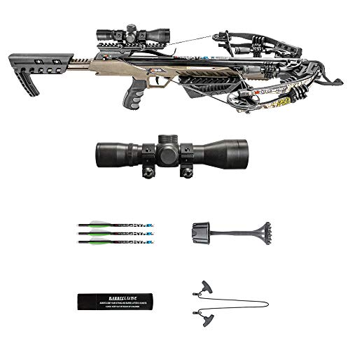 Killer Instinct MSCKI-1001 Rush 380 Crossbow Bow Pro Package with 3 Arrow Bolts and Adjustable Foregrip for Archery Hunting Hunters, Camo