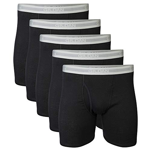 Gildan Men's Regular Leg Boxer Briefs, Multipack, Black (5-Pack), Large