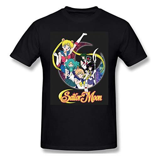 DaniBrant Sailor Moon Silhouette Mans New Short Sleeve T-Shirt Basic Cotton Shirts Black XXL