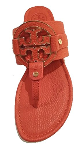 Tory Burch Amanda Flat Thong Tumbled Leather Sandal Shoes 7.5