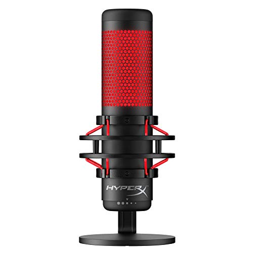 HyperX QuadCast - USB Condenser Gaming Microphone, for PC, PS4 and Mac, Anti-Vibration Shock Mount, Four Polar patterns, Pop Filter, Gain Control, Podcasts, Twitch, YouTube, Discord, Red LED - Black