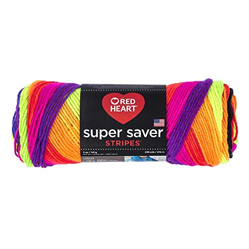 RED HEART Super Saver Yarn, 5 ounces, Bright Stripe