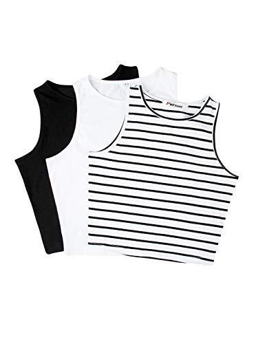 PERSUN Women's Sleeveless Stretchy Casual Basic Crop Tank Top Shirts 3 Pack