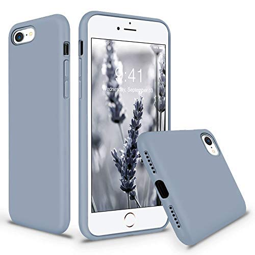 Vooii iPhone SE Case, iPhone 8 Case, iPhone 7 Case, Soft Silicone Gel Rubber Bumper Case Microfiber Lining Hard Shell Shockproof Full-Body Protective Case Cover for iPhone SE/7/8 - Lavender Grey