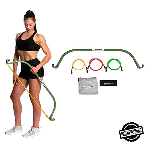 Gorilla Bow Lite, Portable Home Gym Resistance Band System, Weightlifting and HIIT Interval Training Kit, Full Body Workout Equipment (Lite Green)