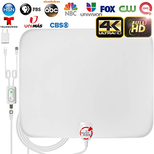 [Latest 2020] Amplified HD Digital TV Antenna Long 180 Miles Range - Support 4K 1080p Fire tv Stick and All Older TV's Indoor Powerful HDTV Amplifier Signal Booster - 18ft Coax Cable/AC Adapter