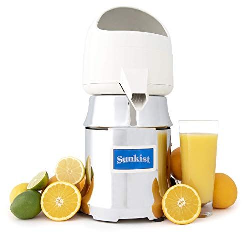 Sunkist Growers J-1 Commercial Juicer   Citrus Press   Electric Juice Extractor   Chrome   Includes 3 Interchangeable Extracting Bulbs   20 Gallon Per Hour Ability   31 Pounds