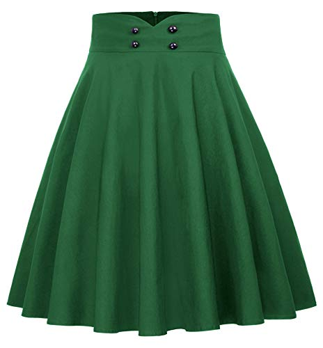 Belle Poque High Waist Flared Skirt Pleated Midi Skirt with Pocket Green Size XL