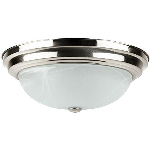 Sunlite LFX/DBN15/AL/E/D/30K 23-watt 120-volt Energy Star Dimmable LED Decorative Dome Style Fixture, 15-Inch, Brushed Nickel Finish