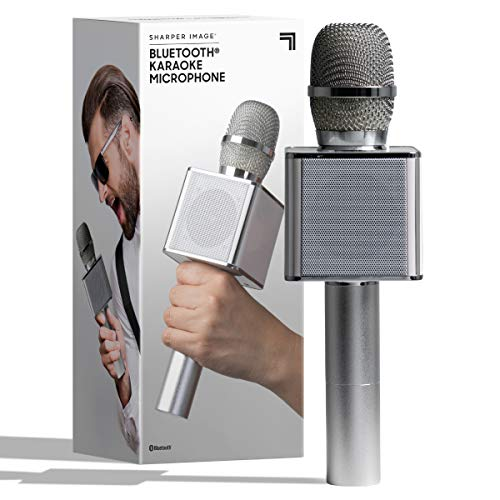 SHARPER IMAGE Bluetooth Music Stream Karaoke Microphone with Built-in Speaker, Bluetooth & Smartphone Compatible, Silver