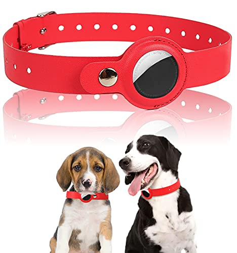 FEEYAR Airtag Dog Collar Leather Case, Protective Pet Collar Holder Loop for Airtags Tracker, Anti-Lost Adjustable PU Leather Collar, Soft and Comfortable for Small Medium Cats Dogs Puppies, Red