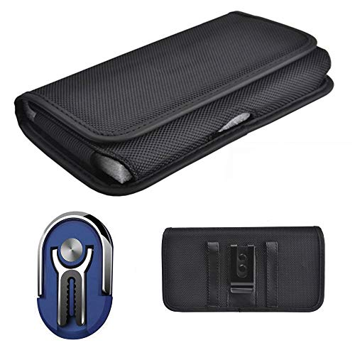 Pouch Case Compatible for Alcatel TCL-A2 (A507DL) / TCL-Signa (Verizon) / TCL-A2 Car Mount Ring Phone Stand Finger Carrier +Horizontal Canvas Holster with Belt Clip Loop (3in1 Ring Navy + Pouch Case)