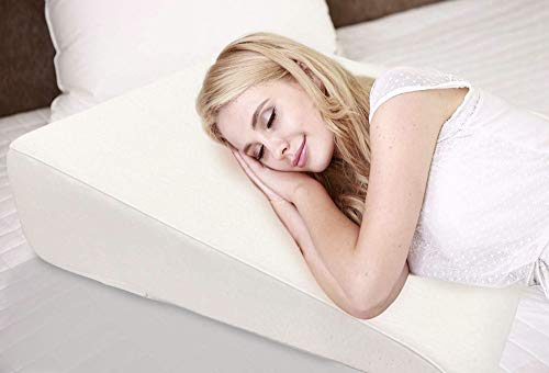 7.5' Wedge Pillow For Acid Reflux - Dr. Recommended Height, Luxurious 2' Memory Foam Pillow Wedge For Sleeping, GERD, Post Surgery, Heartburn, and Snoring - Washable Bamboo Cover (25'W x 26'L x 7.5'H)