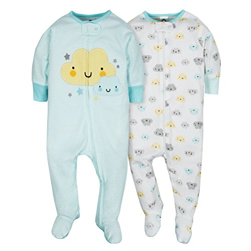 Gerber Baby Girls' 2 Pack Zip Front Sleep 'n Play,Clouds,3-6