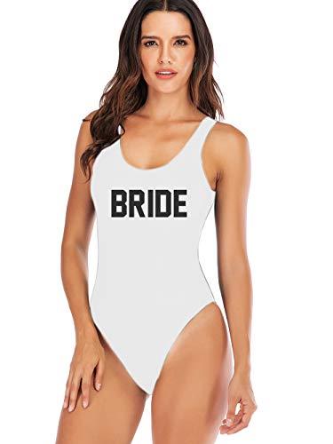 Elightvap Bride to Be Squad Women One Piece Swimsuits Letter Print Swimwear High Cut Monokini Bridesmaid Team Bathing Suits