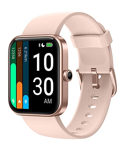 YAMAY Smart Watch for Android Phones Compatible with iPhone Samsung 2021 Ver, Watch for Men Women with Alexa Built-in, Blood Oxygen & Heart Rate Monitor Sleep Tracker 5ATM Waterproof (Pink, 1.69')