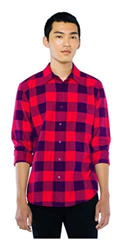 American Apparel Men's Flannel Lumberjack Long Sleeve Shirt, Red/Navy Check, Small