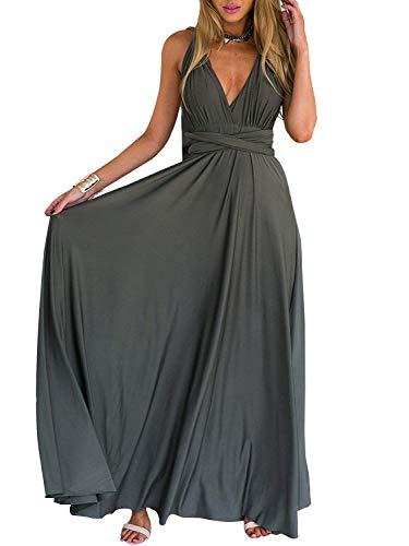 PERSUN Women's Convertible Multi Way Wrap Maxi Dress Long Party Grecian Dresses Grey