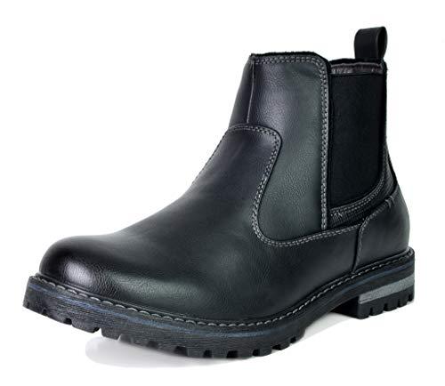 Bruno Marc Men's Engle-03 Black Faux Fur Lined Chelsea Ankle Boots Size 11 M US