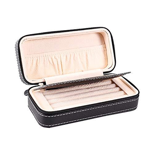 Aco&bebe House Small Travel Jewelry Box, Rings Cuff-Links Tie Clip Organizer, Zipped Closure, Black