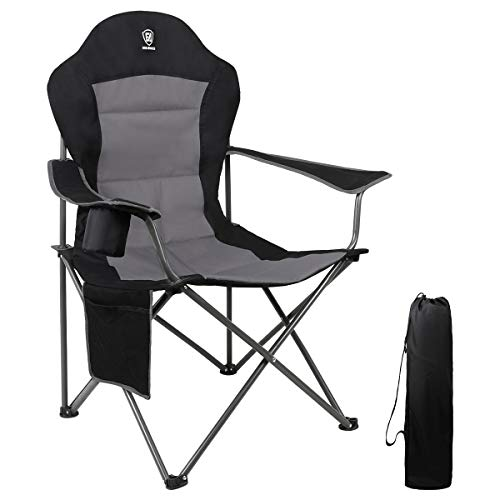 EVER ADVANCED Oversized Padded Quad Arm Chair Collapsible Steel Frame High Back Folding Camp Chair with Cup Holder, Heavy Duty Supports 300 lbs