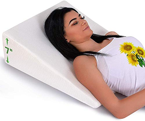 Bed Wedge Pillow with Memory Foam Top - Reduce Neck and Back Pain, Snoring, and Respiratory Problems - Ideal for Sleeping, Reading, Rest or Elevation - Breathable and Washable Cover - 7in