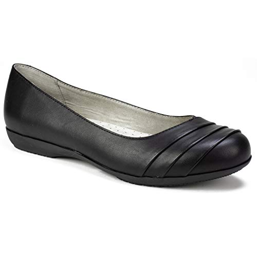 CLIFFS BY WHITE MOUNTAIN Shoes Clara Women's Flat, Black/Burnished/Smooth, 9H M