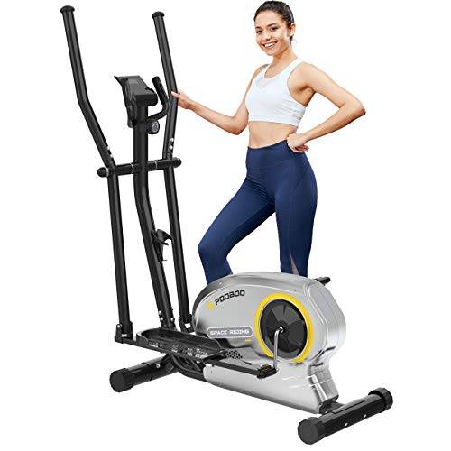 pooboo Elliptical Trainer Magnetic Elliptical Machines for Home Use Portable Elliptical Trainer with Pulse Rate and LCD Monitor (Yellow)