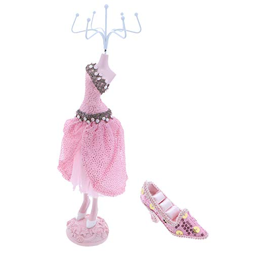 Party Dress Mannequin Jewelry Stand and Mini Shoe Ring Holder-Pink