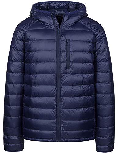 Wantdo Mens Water-Resistant Packable Ultra Light Hood Puffer Down Jacket(Navy,M)