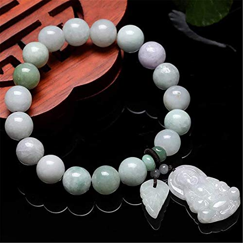 FLYAND Feng Shui Wealth Bracelet Jade Bangle Jadeite Stretch Bracelet with Guanyin Pendant Jade Bracelet,Natural Buddha Beads Attract Good Luck Money Lucky Charms Gift for Women/Men