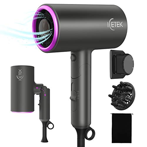 ICETEK Negative Ionic Hair Dryer, 2000W Professional Hair Dryer with Diffuser Ions for Fast Drying Fast Hairdryer with 2 Heating / 3 Speed/Cool Button Without Damaging Hair