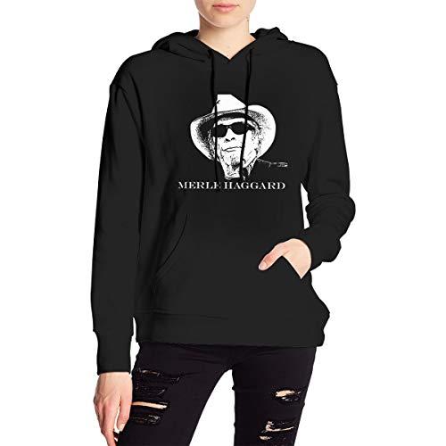 Merle Haggard Hoodie Pullover Woman's Long Sleeve Hooded Sweatshirts Tops with Pocket Black