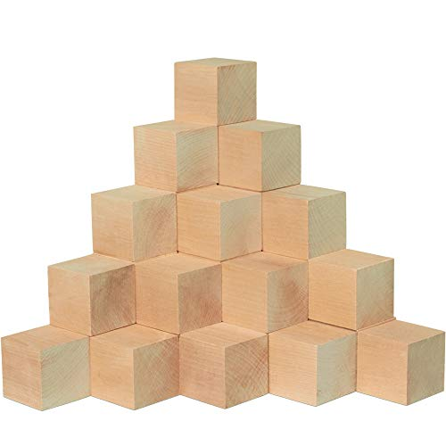 Unfinished Wooden Blocks 2', Pack of 50 Small Wood Cubes for Crafts and DIY Décor, by Woodpeckers