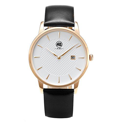 AIBI Men's Watch Analog Quartz Black Leather Strap Waterproof Watches for Mens 40mm Case with Date