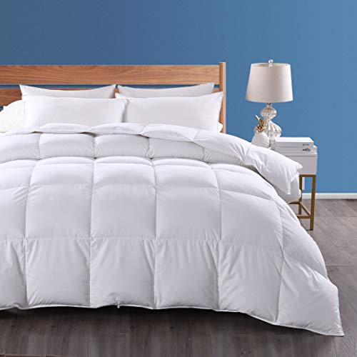 Dafinner 100% Organic Cotton Quilted Down Comforter All Season Goose Down Feather Medium Weight Filling Duvet Insert King Size, Ivory White