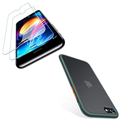 TORRAS Shockproof Designed for iPhone SE 2020 Case Might Green & iPhone SE 2020 Screen Protector