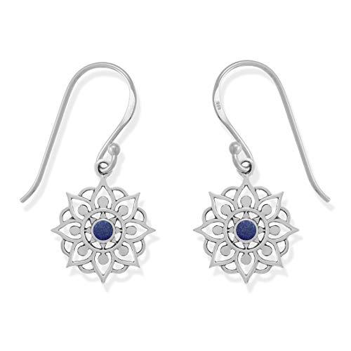 Boma Jewelry Sterling Silver Lapis Lotus Flower Dangle Earrings